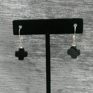 Onyx Cross Earrings